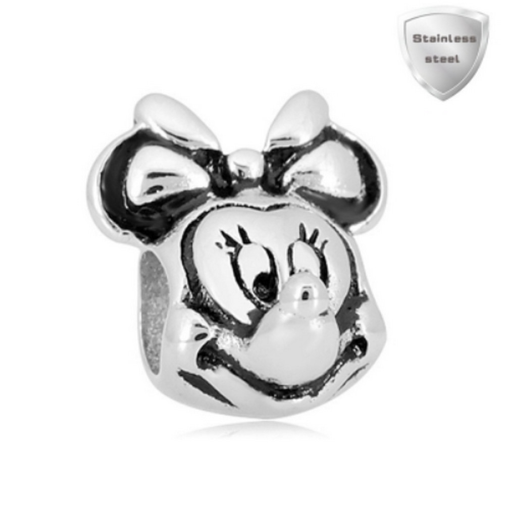 Stainless Charm - Solid Female Mouse Head