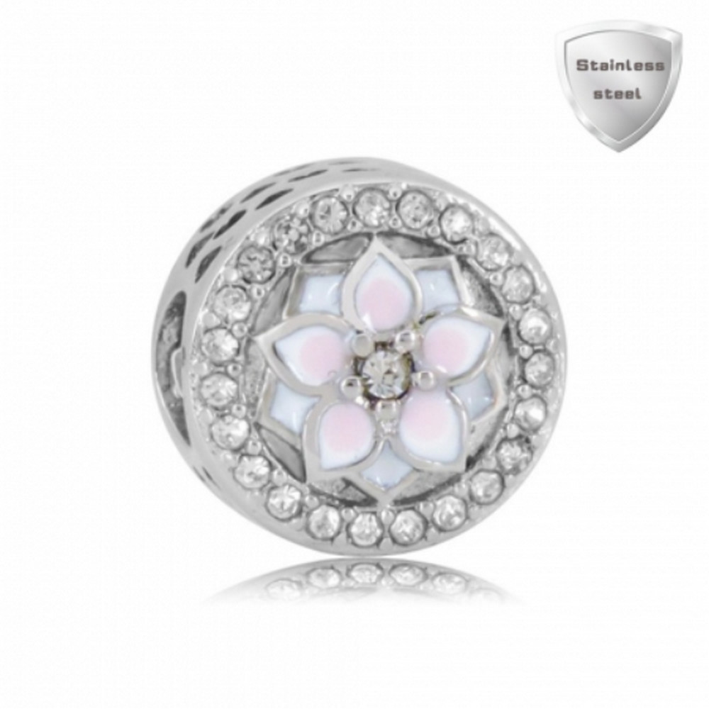 "Stainless Charm - Rhinestone Round ""Radiant"" Clear"