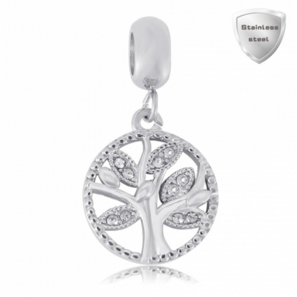 Stainless Charm - Dangle Tree of Life Halo Charm