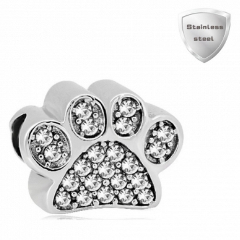 Stainless Charm - Rhinestone Dog Paw Clear