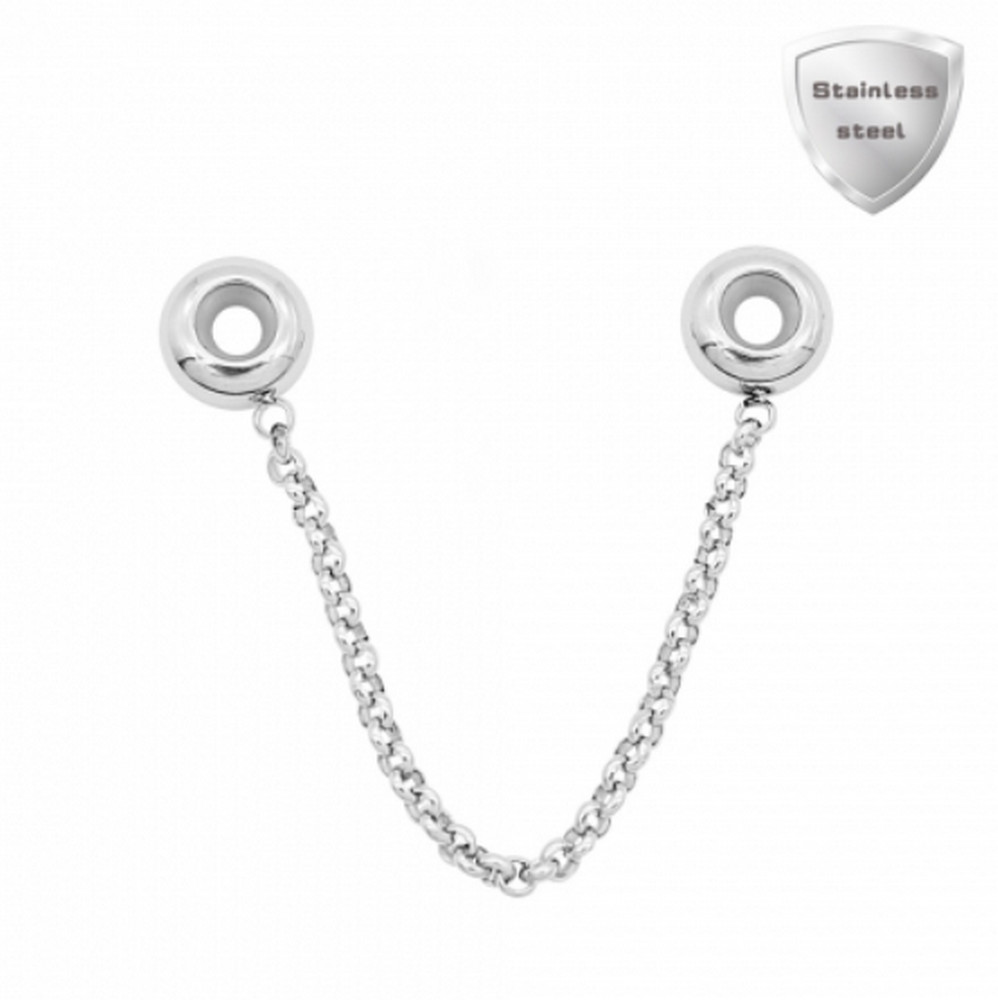 Stainless Charm - Safety Chain Charm for Pandora Style Bracelet