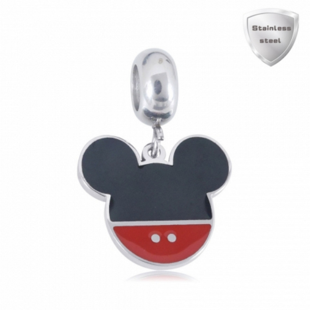 Stainless Charm - Enamel Dangle Mouse Charm