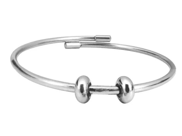 Stainless Steel Bead Bangle Bracelet with Two Stopper Beads