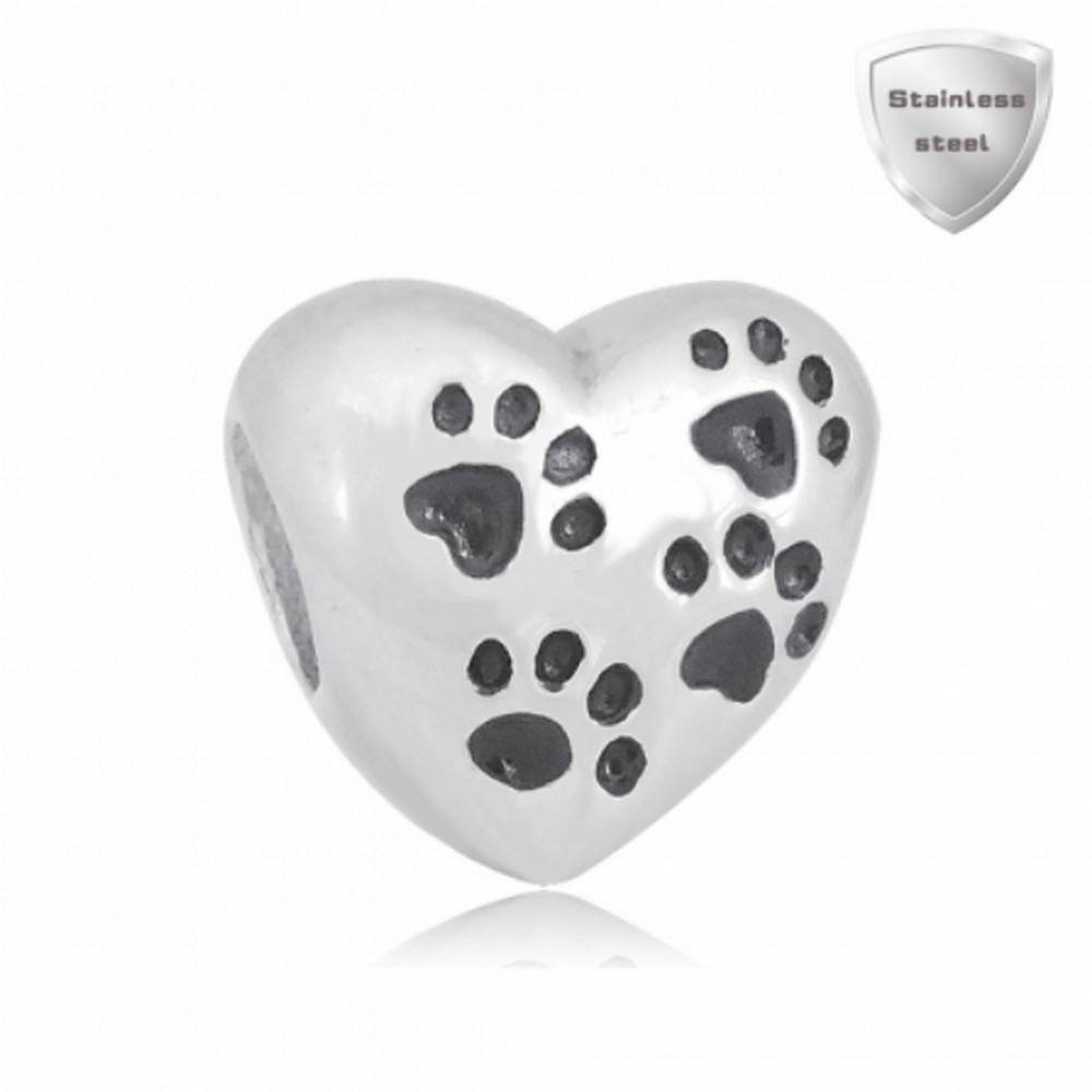 Stainless Charm - Solid Heart with Black Paw Prints