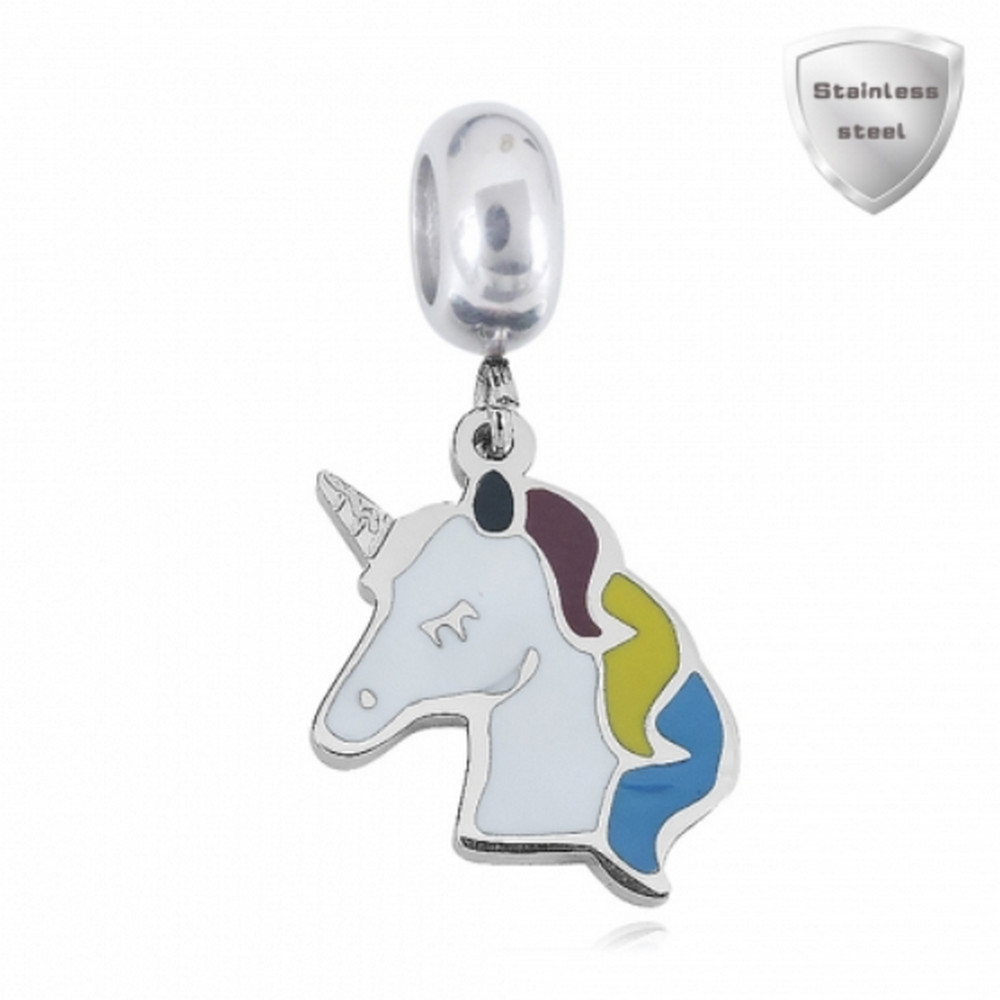 Stainless Charm - Enamel Dangle Colorful Unicorn Charm
