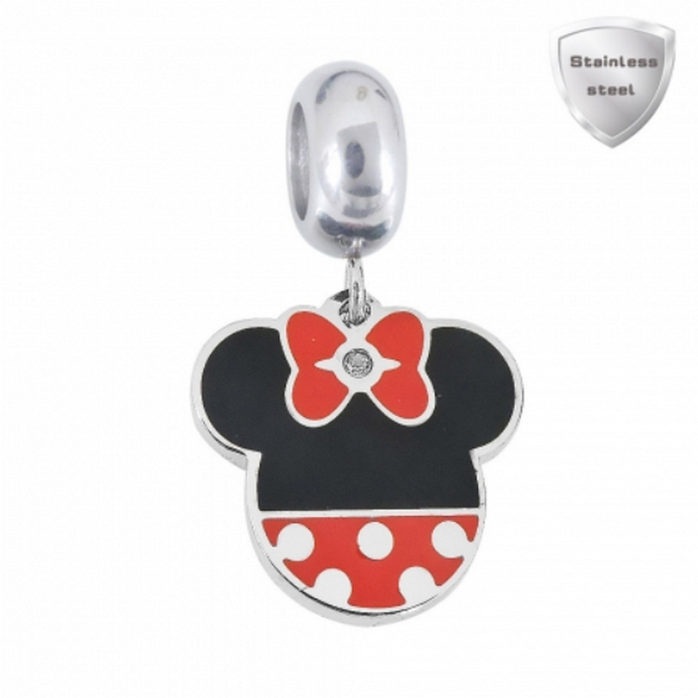 Stainless Charm - Dangle Girl Mouse