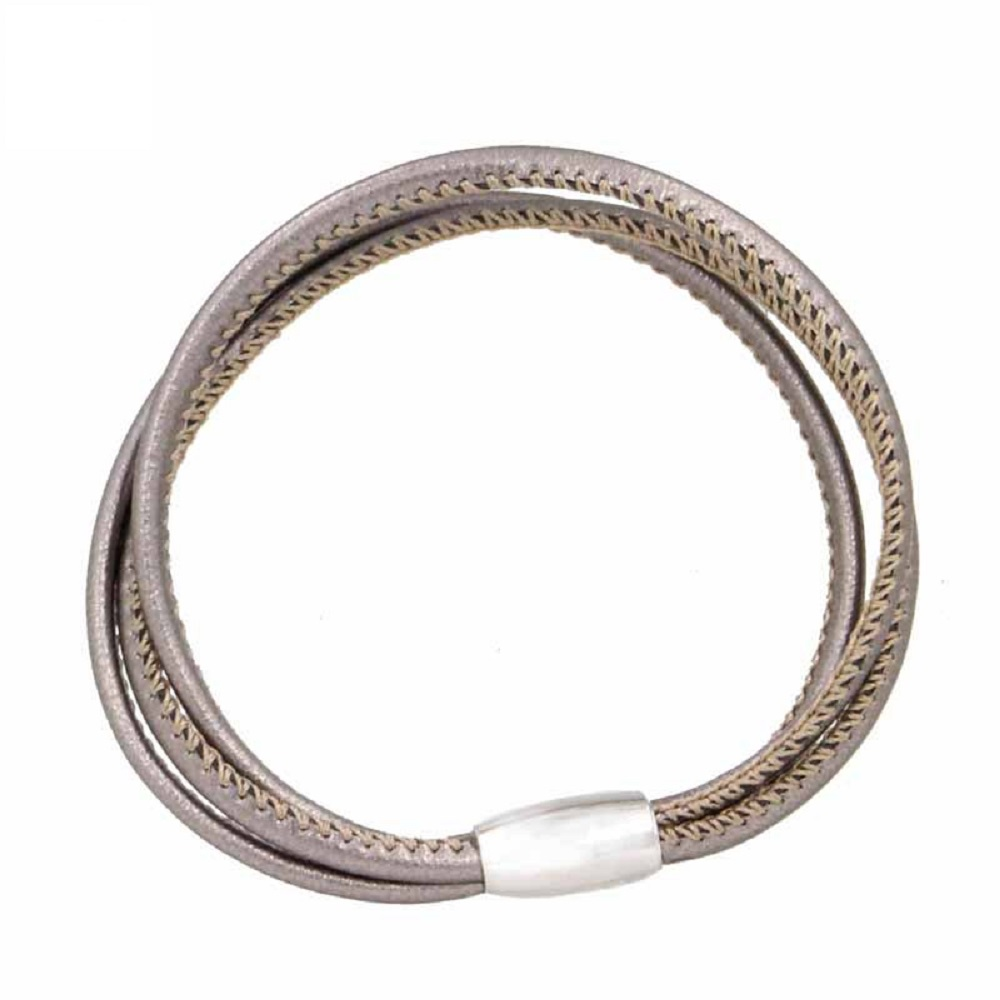 End Less Bracelet Magnetic 3 Strand Metallic Gray - 19CM 7.5""