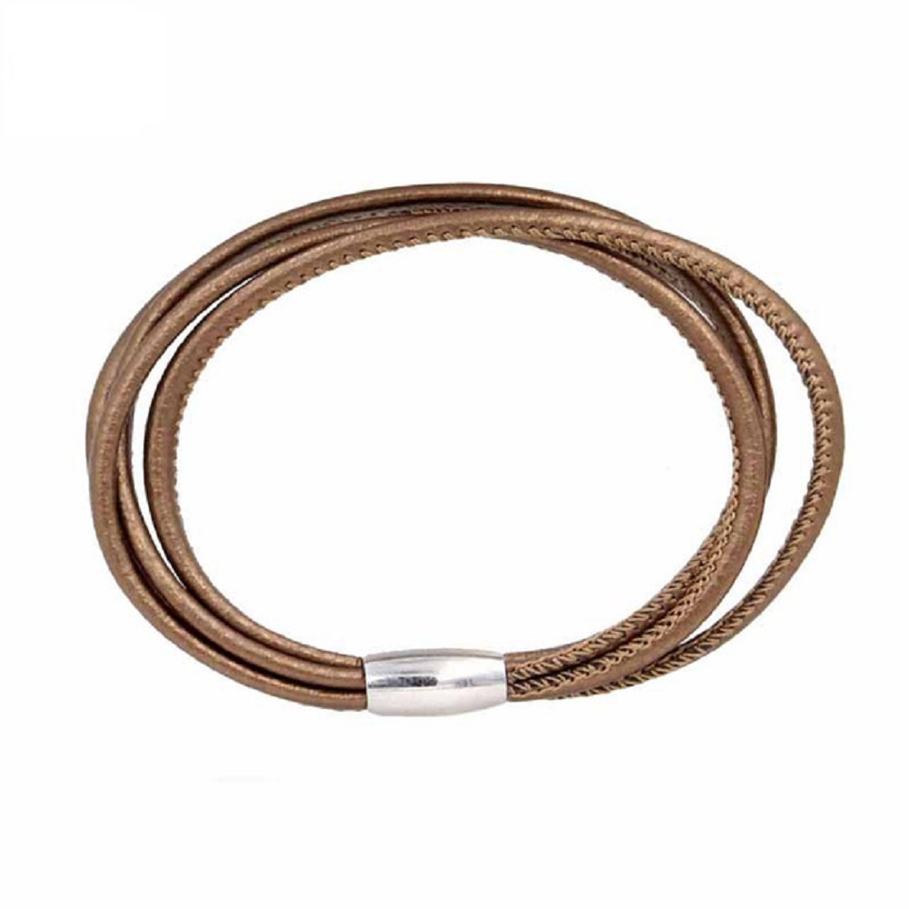 End Less Bracelet Magnetic Three Strand Brown - 19CM 7.5""