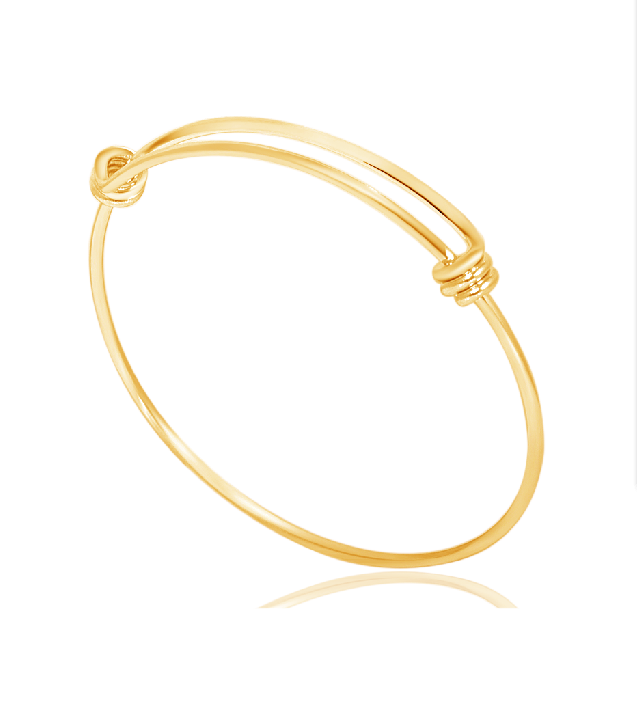 60mm Medium Stainless Steel Wire Adjustable Bangle - Gold