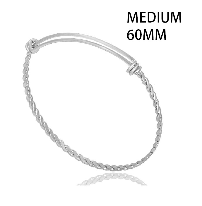 60mm Medium Stainless Steel Woven Adjustable Bangle - Silver