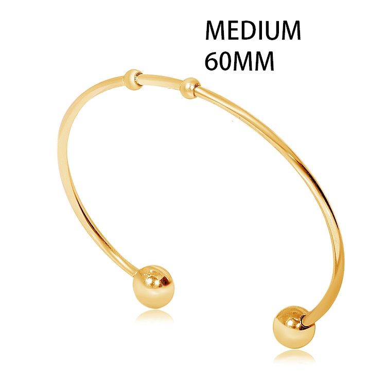 60mm Medium Stainless Steel Cuff Bangle - Gold