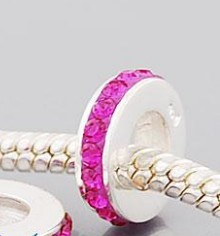 Charm 925 - 1 Row - Crystals - Pink