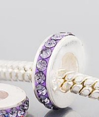 Charm 925 - 1 Row - Crystals - Lavender Purple