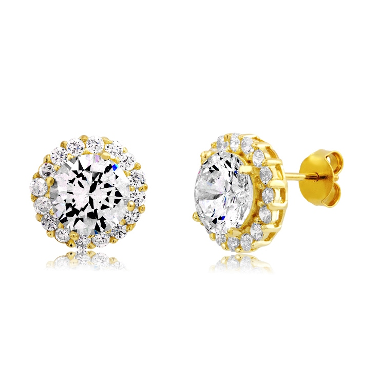 925 - Sterling - Round Clear CZ Gold Plated Stud Earrings