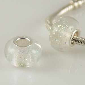 925 Glass Beads - Foil Spots - Clear