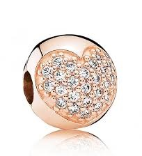 Charm 925 - Rose Gold Pave Heart Clip