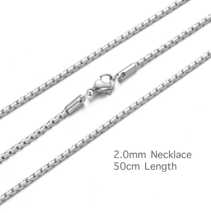 Stainless Steel 2.0mm Rope Box Chain - 20""