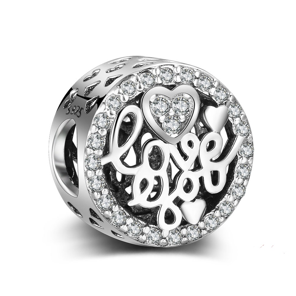 Charm 925 - Heart Love You Round Bead Pave Heart Halo