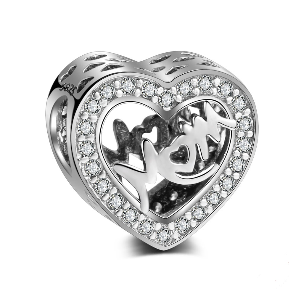 Charm 925 - Heart Mom Rhinestone Trim