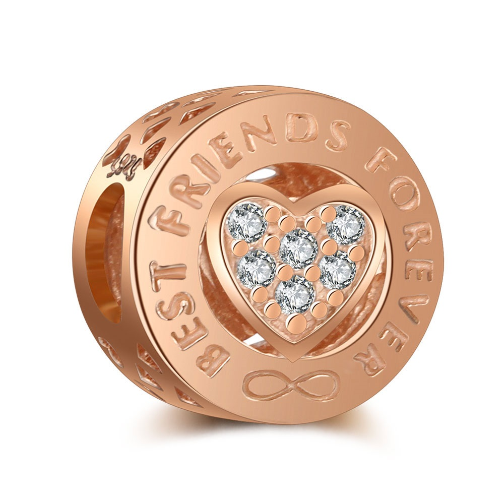 925 Charm - Best Friend Forever Rose Gold