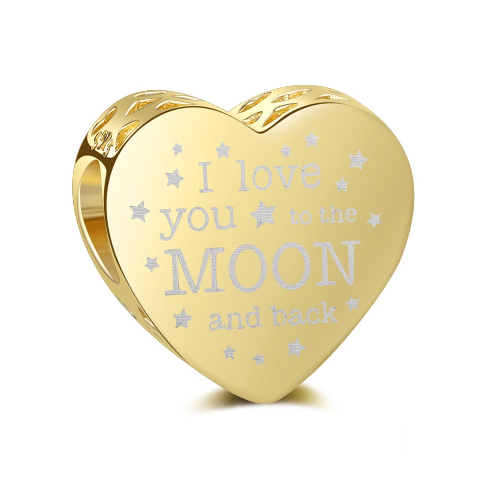 Charm 925- I Love You to Moon & Back Heart Gold