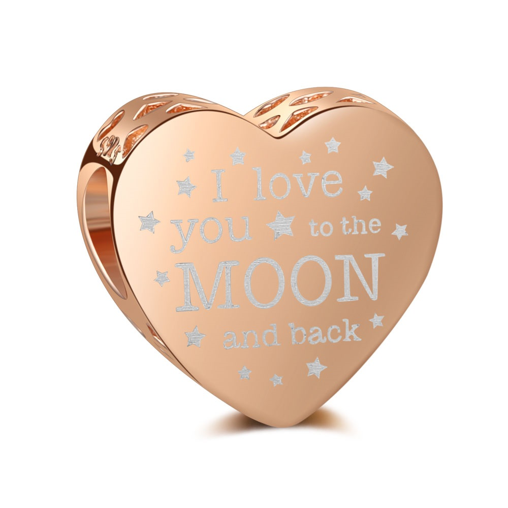 Charm 925- I Love You to Moon & Back Heart Rose Gold