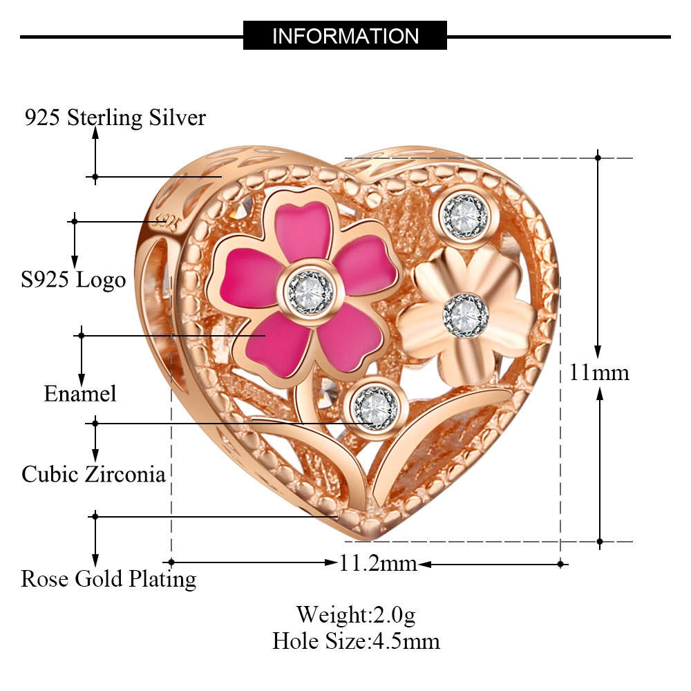 Charm 925 - Rose Gold Clear CZ & Pink Enamel Flower