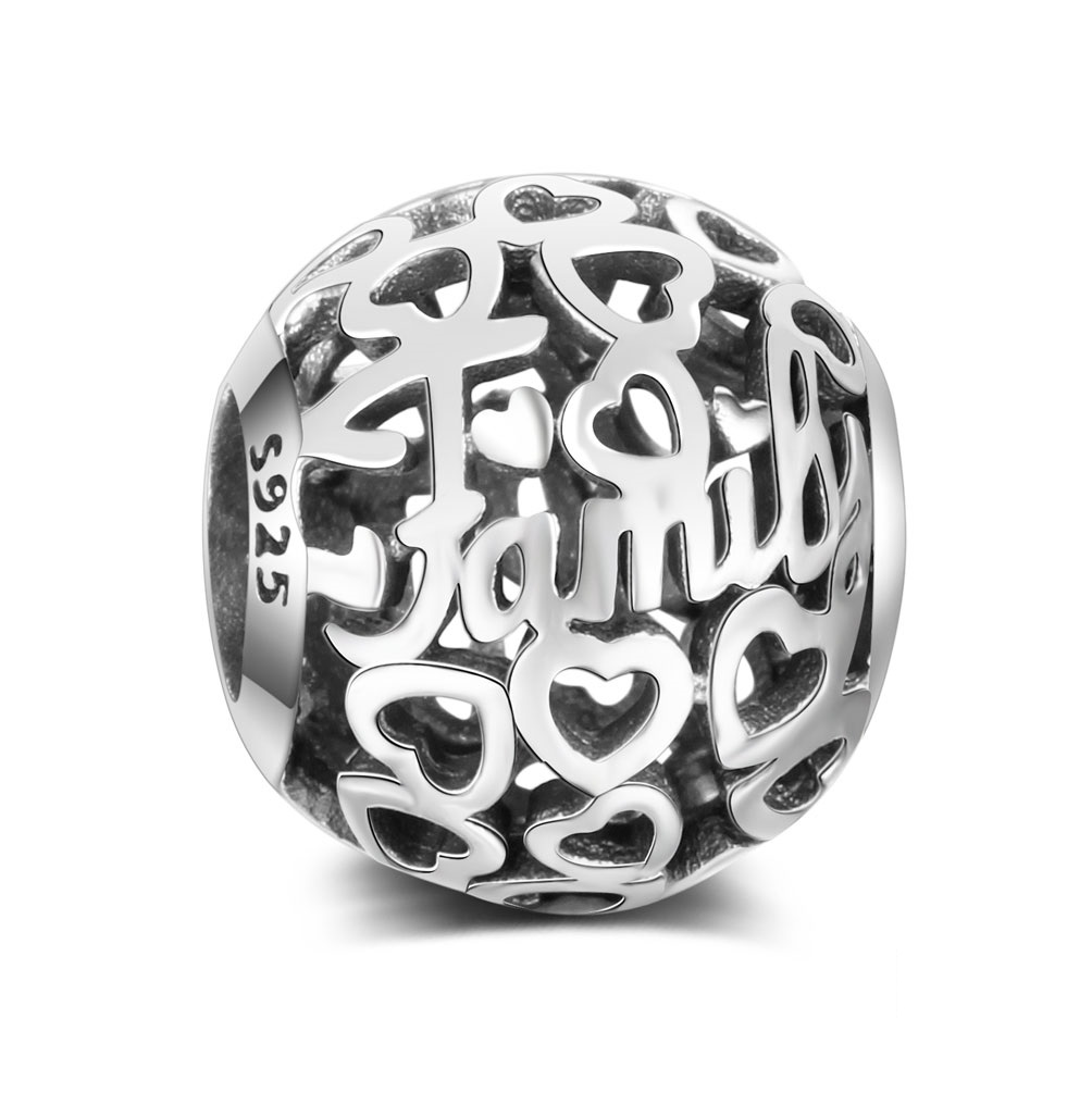 "Charm 925 - ""Family Love"" Bead in Silver-tone"