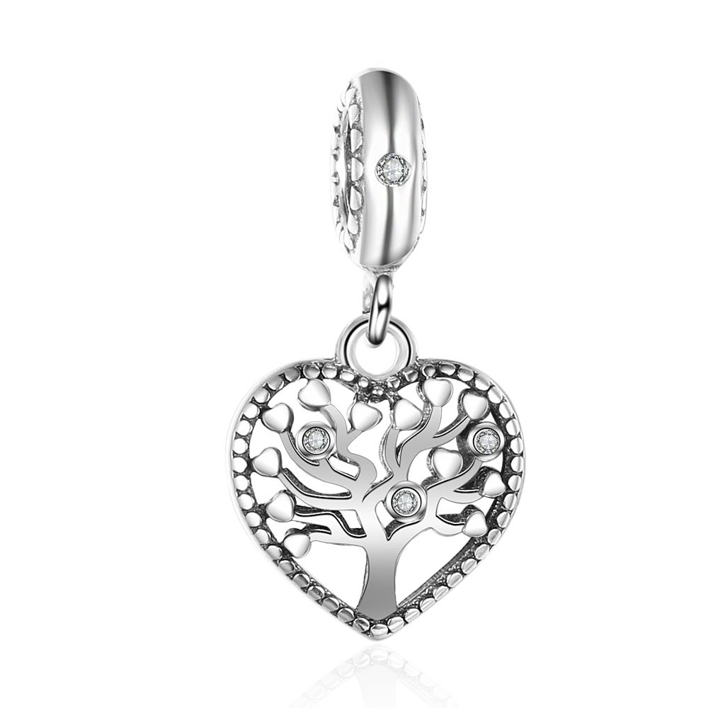 925 Charm - Rhinestone Drop Tree of Life