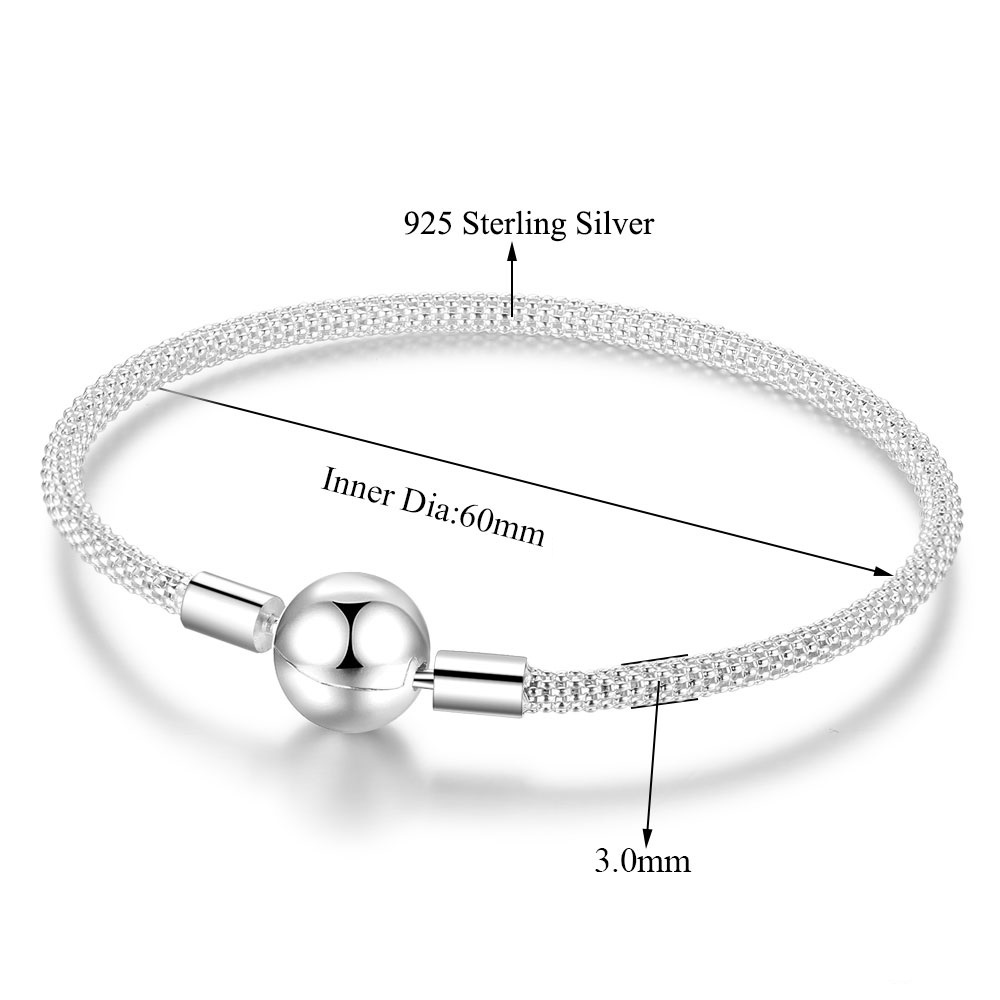 925 Sterling Round Clasp 60mm dia. Textured Bracelet