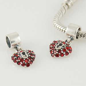 Charm 925 Drop - CZ Stone - Heart Red
