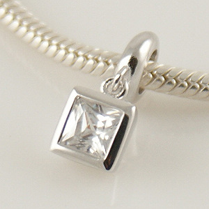 Charm 925 Drop Square - Clear