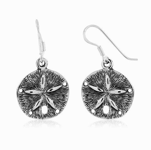 925 - Sterling - Sand Dollar Antique High Polish Earrings