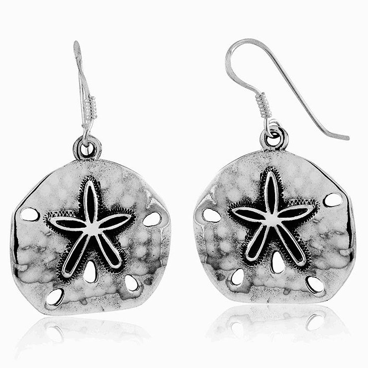 925 - Sterling - Stand Dollar Silver Antique Hook Earrings