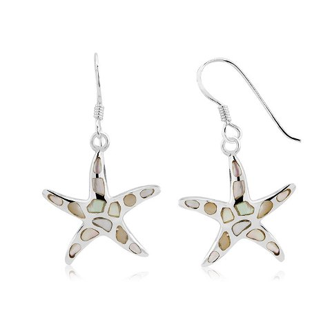 925 - Sterling - Starfish Avalone Medium Fishhook Earrings