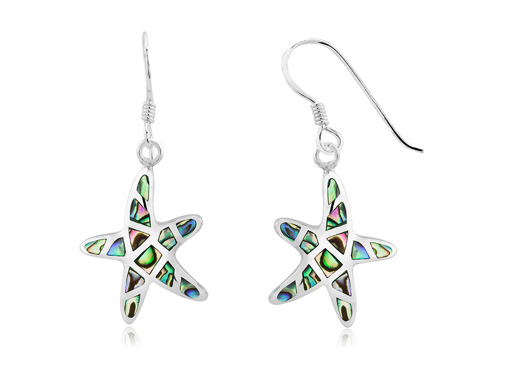925 - Sterling - Starfish Abalon Small Fishhook Earrings