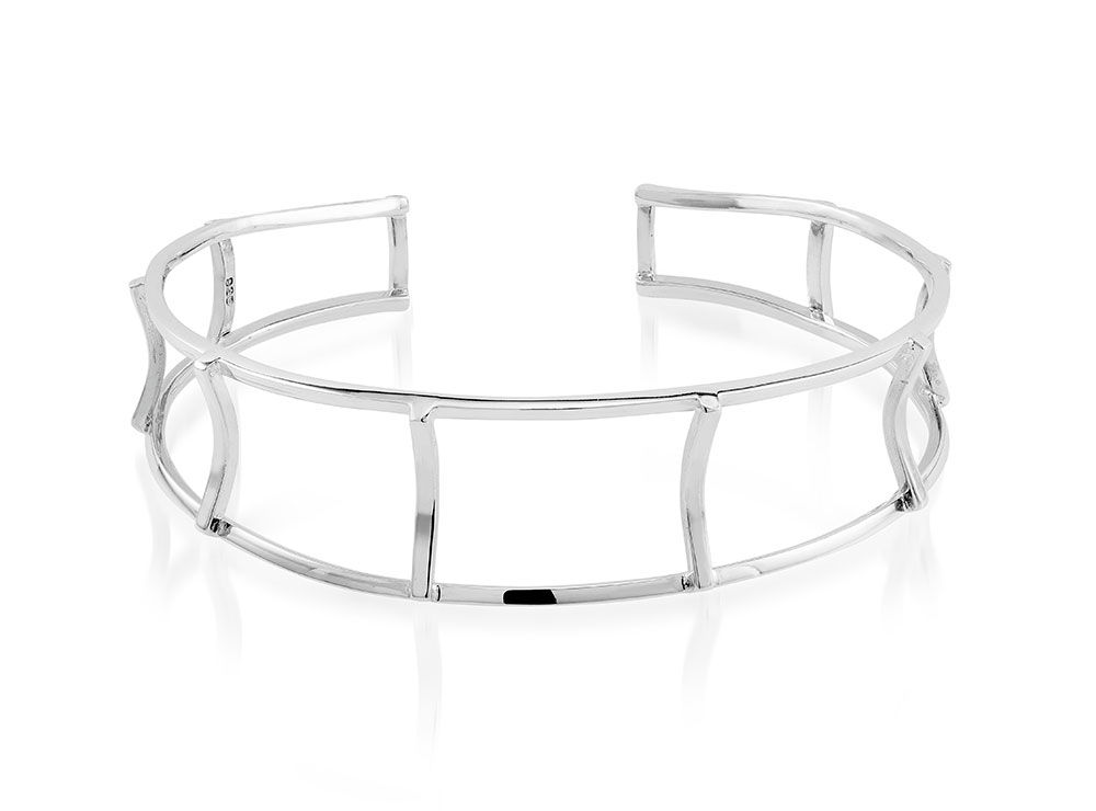 925 - Sterling Silver - Caged design High Polish Cuff