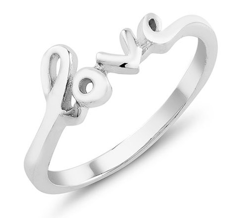 925 - Sterling - Love High Polish Ring - Size 6