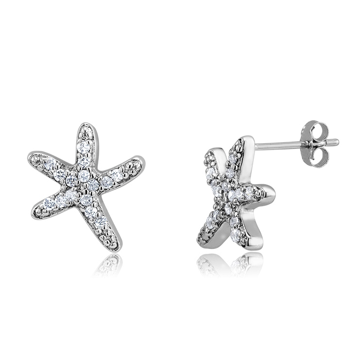 925 - Sterling - Starfish CZ Small Earrings