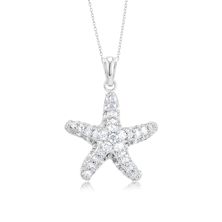 925 - Sterling - Starfish Pave CZ Medium Pendant