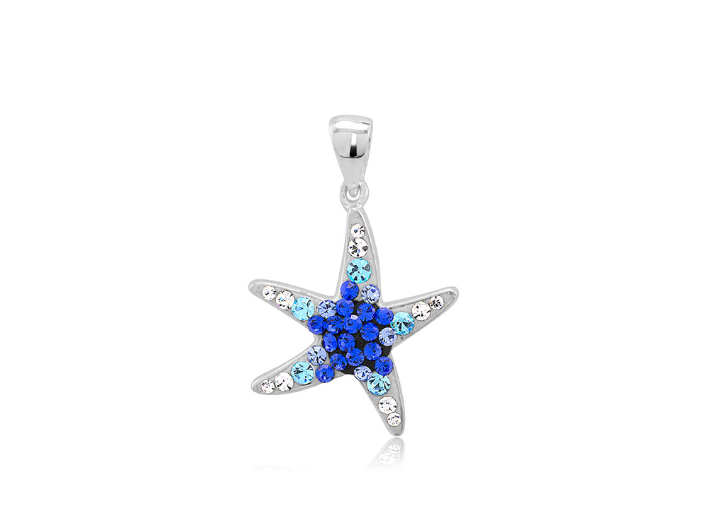 925 - Sterling -Starfish White Light Blue & Blue Crystal Pendant