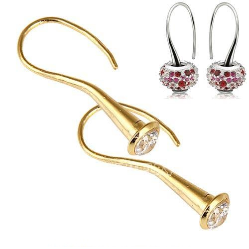 925 Earrings CZ Fish Hook Vermeil (Gold Over Sterling)