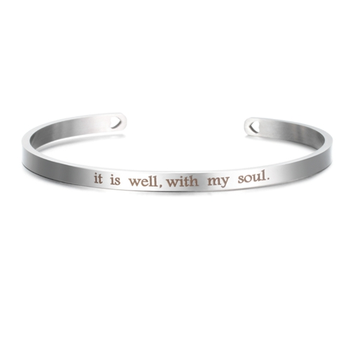 It is Well, With my Soul - Silver Stainless Mantra Bracelet