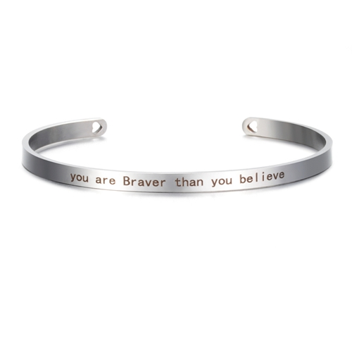 You are Braver than you Believe - Silver Mantra Bracelet