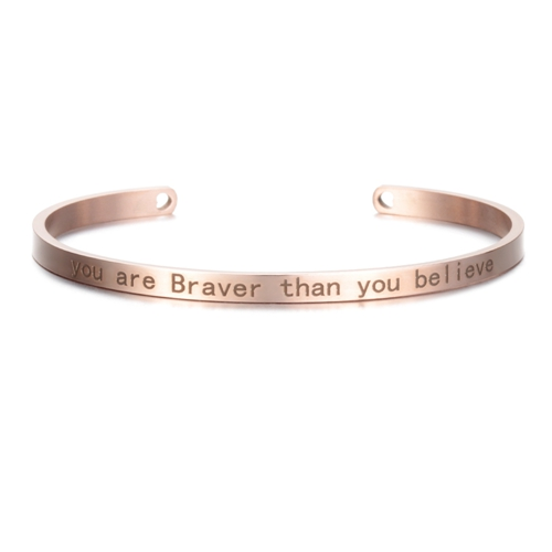 You are Braver than you Believe - Rose Gold Mantra Bracelet