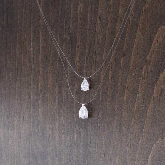 925 Illusions Floating Double Teardrop CZ Necklace 15""