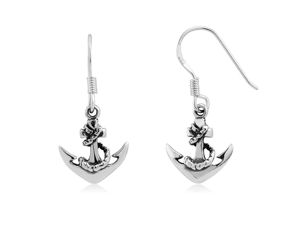 925 - Sterling - Anchor High Polish Fish Hook Earrings