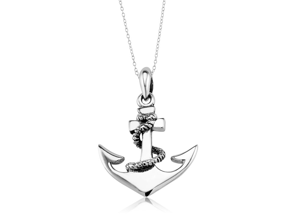 925 - Sterling - Anchor w/ Rope High Polish Fish Small Pendant