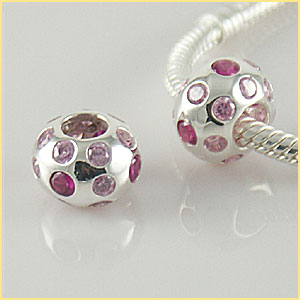 Charm 925 CZ Stone - Round - Light Pink, Pink & Clear