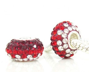 Charm 925 - 5 Row Graduated Crystals - Dark Red , Red & Clear